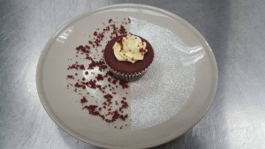 red velvet cupcake with creamcheese frosting