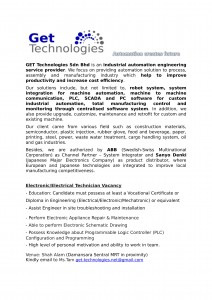 Electrical Electronic technician advertisement-2